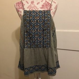 Lucky Brand Boho Style Embroidered Tank Top XL